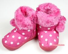Winter Snow Adorable Casual Toddler Girl Hot Pink White Dots Suede Shoes Boots