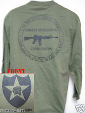 2nd I.D. LONG SLEEVE T-SHIRT/ AFGHANISTAN COMBAT OPS / MILITARY/ ARMY / NEW