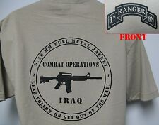 1ST RANGER BN T-SHIRT/ MILITARY/ IRAQ COMBAT OPS/ ARMY/ NEW
