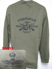 USMC FORCE RECON LONG SLEEVE T-SHIRT/ MCD/ FMF CORPSMAN/ NAVY/ MILITARY/  NEW