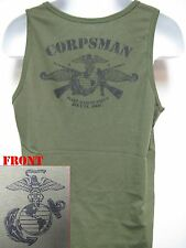 NAVY CORPSMAN TANK TOP/ OD/ HOSPITAL FMF CORPSMAN/ USMC/ MARINES/ MILITARY/  NEW