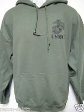 USMC HOODED SWEATSHIRT/with text underneat/ MILITARY OD GREEN COLOR/ HOODIE/ NEW
