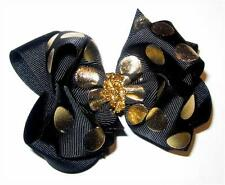 Gold Shimmer Black Boutique Hair Bow Girl Big Double Layer Hairbow Pageant Party