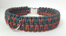 Paracord Dog Collar Double Cobra Weave - Brown/Hunter Green