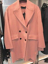 ZARA WOOL DOUBLE-BREASTED COAT PINK SIZE: S REF. 7522/250