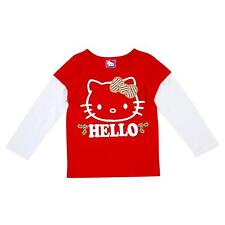 Hello Kitty Infant Toddler Girls Red White Gold Glitter T-Shirt Holiday Tee