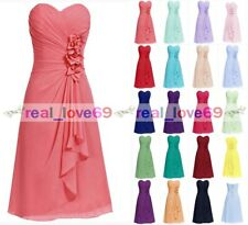 Formal Chiffon Knee Length Wedding Prom Ball Evening Bridesmaid Dress Size 6--18