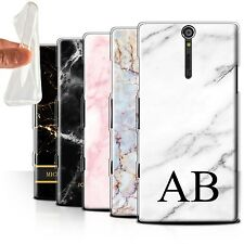 Personalised Marble Gel/TPU Case for Sony Xperia S/LT26i/Name/Initial DIY Cover