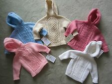NWT Hand Knit Baby Irish Knit Sweater back zipper 12 months Blue Pink or Cream