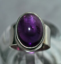Amethyst Cabochon Sterling Silver Handcrafted Ring