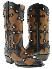 Women's Black & Brown Huge Rhinestones Western Cowgirl Boots Rodeo Riding
