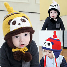 Baby Toddler Winter Warm Cute Panda Crochet Knitted Earflap Cap Kids Hat
