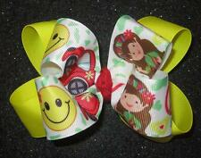 Groovey Girl Boutique Double Hair Bow Smiley Face Hairbow Peace Sign Yellow 60s
