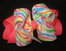 Fruiti Stripes Boutique Hair Bow Neon Double Layer Hairbow Party Pageant Hairbow