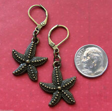 STARFISH SEA STAR Charm LEVER BACK Earrings Bronze Tone OPTIONS: Short or Long