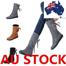Mid-Calf Boots Women Motorcycle Lace Up Low Heel Buckle Shoes Warm Boots AU