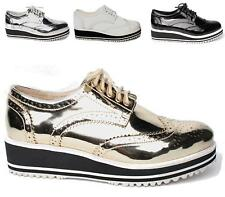 Ladies Creepers Flat Brogue Wedge Lace Up Creepers Smart Punk Goth Shoes Size