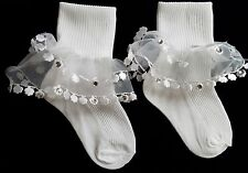 NEW #4R Girls Double Tier Organza Flower Lace Design RHINESTONE dot Nylon Socks