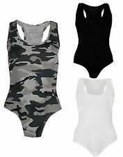 Womens Ladies Army Camouflage Print Muscle Vest Sleeveless Leotard Bodysuit Top