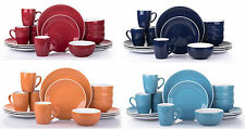Two-Tone 16-Piece Dinner Set Plates Bowls Mugs Stoneware In Choice Of Colour