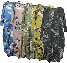 New Ladies Italian Lagenlook Floral Quirky Boho Casual Cotton Tunic Top Dress