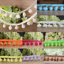 1M 10mm Ball Pom Pom Bobble Trim Braid Fringe Ribbon Edging Craft Decoration