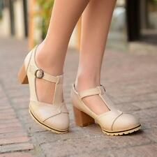 Womens Faux pu leather T-strap Retro Mary Jane Vintage Block heel Pumps Shoes