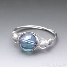 Aqua Aura Crystal & Clear Quartz Sterling Silver Wire Wrapped Bead Ring