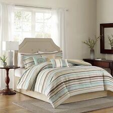 7pc Woven Taupe & Seafoam Comforter Set w/Bed Skirt Shams AND Pillows