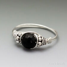 Black Onyx Faceted Bali Sterling Silver Wire Wrapped Bead Ring