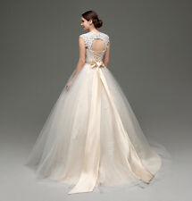 Womens Tulle Wedding Dress Pleat Mesh Bowknot Lace Up Bridal Gowns Size 4-16