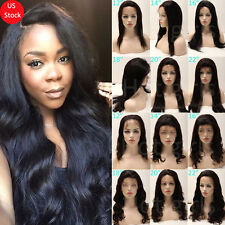 100% Indian Remy Human Hair Front Lace Wigs Silky Straight Glueless Full Wig gd8