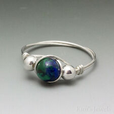 Azurite Malachite Lapis Sterling Silver Wire Wrapped Bead Ring