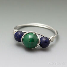 Malachite & Lapis Lazuli Sterling Silver Wire Wrapped Bead Ring - Ships Fast!