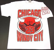 BULLS T-shirt Chicago Windy City Air Jordan MJ 23 Tee Mens Adult L-3XL White New