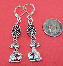 EASTER BUNNY DAISY Charm Silver Plated LEVERBACK Drop Earrings OPT: Flower