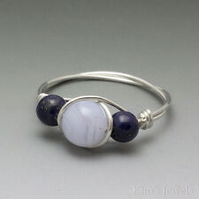Blue Lace Agate & Lapis Lazuli Sterling Silver Wire Wrapped Bead Ring