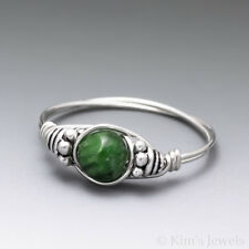 Chrome Diopside Bali Sterling Silver Wire Wrapped Bead Ring