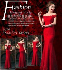 Red lace formal long evening dress dinner party wedding bridesmaid dress #59