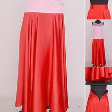 Womens Girls 16 Momme 100% Pure Silk 360 Full Circle Long Flare Maxi Skirts