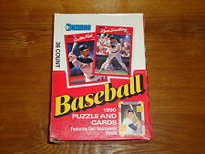 36 PACK COUNT BOX 1990 DONRUSS BASEBALL & PUZZLE CARDS