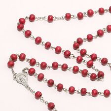 Red Rosary Beads New Decor Cross Pendant Christ Wooden Bracelet Necklace
