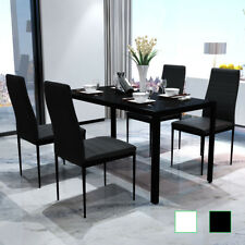 Modern Dining Set 1 Glass Table 4 White/Black Chairs Faux Leather Dining Room