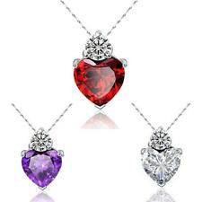 Women Fashion Rhinestone Love Jewelry Heart Pendant Women's Necklace Link