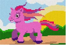 Pink Pony Needlepoint Kit or Canvas (Horse/Beginner/Animal/Kids)