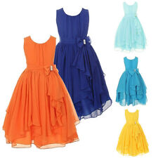 Bowknot Girl Chiffon Princess Dress Kid Party Pageant Wedding Bridesmaid Dresses