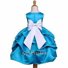 Turquoise Blue Wedding Flower Girl Pick Up Dress Gown 6M 12M 18M 2 3/4 6 8 10 12
