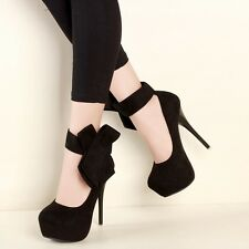Platform Ankle Strap Stiletto Bowknot High Heel Solid Womens Sexy Clubwear Shoes