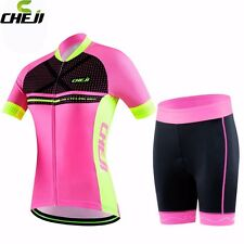 CHEJI Cycling Jersey Sports Clothing Womens Bike Wear Short Sleeves Shirt Shorts