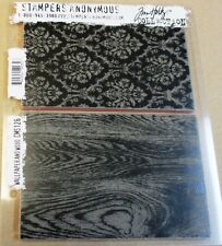 """TIM HOLTZ """"WALLPAPER AND WOOD"""" RED RUBBER CLING STAMP SET CMS126 - NEW"""